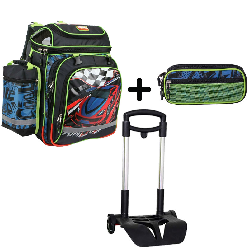 Pack BOMI-RACING cartable SBH03 + chariot + trousse TS03
