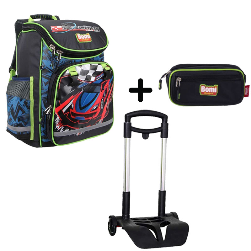 Pack BOMI-RACING cartable SBL01 + chariot + trousse TS02