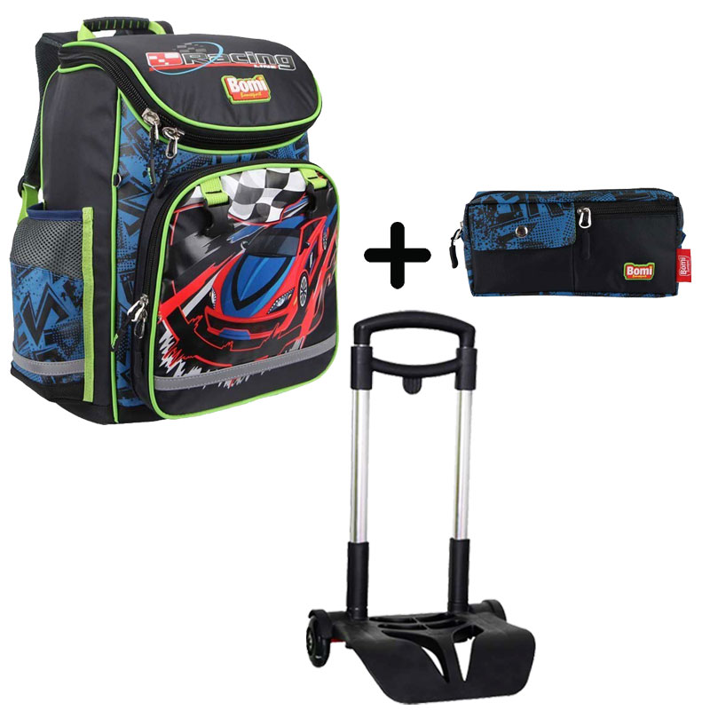 Pack BOMI-RACING cartable SBL02 + chariot + trousse TS01