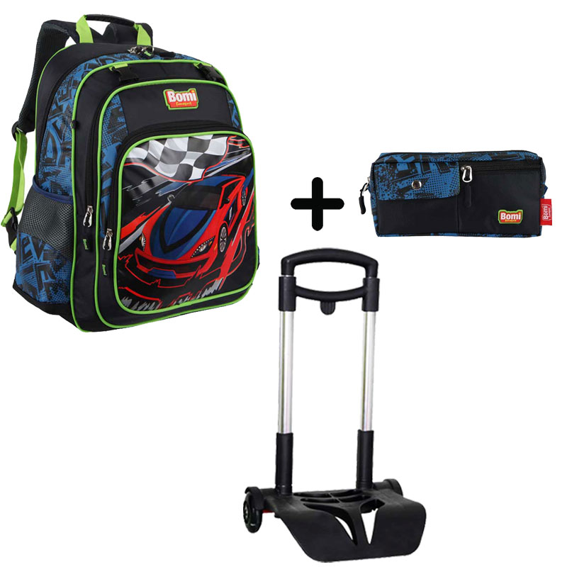 Pack BOMI-RACING cartable SB02+ chariot + trousse TS01