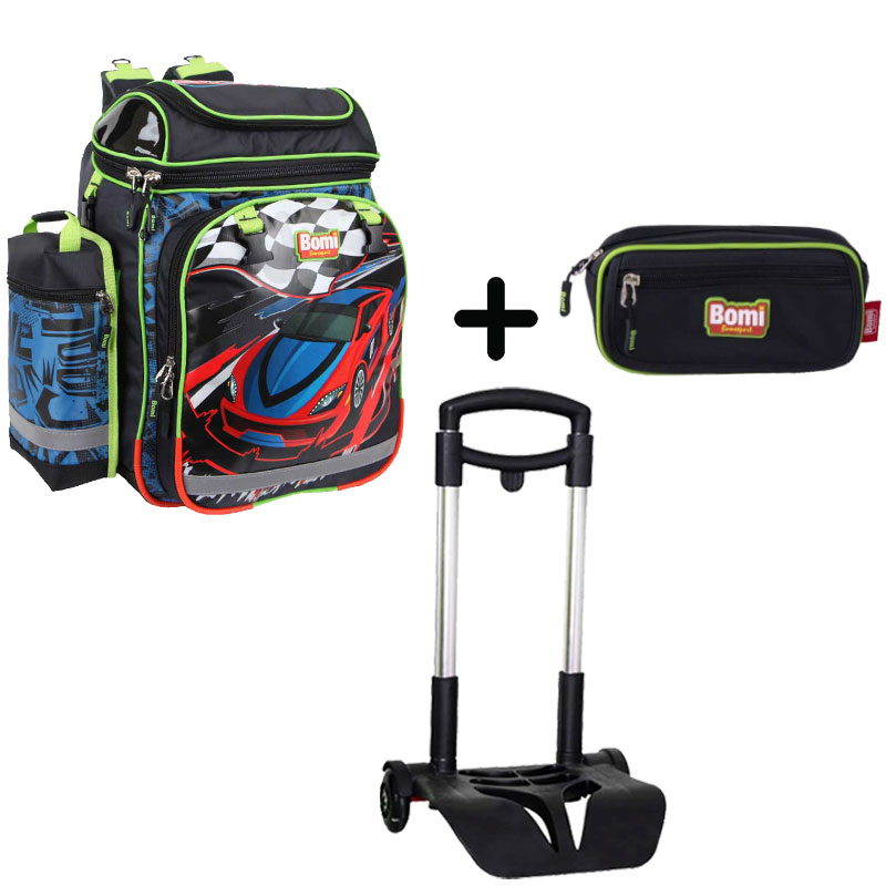 Pack BOMI-RACING cartable SBH02 + chariot + trousse TS02