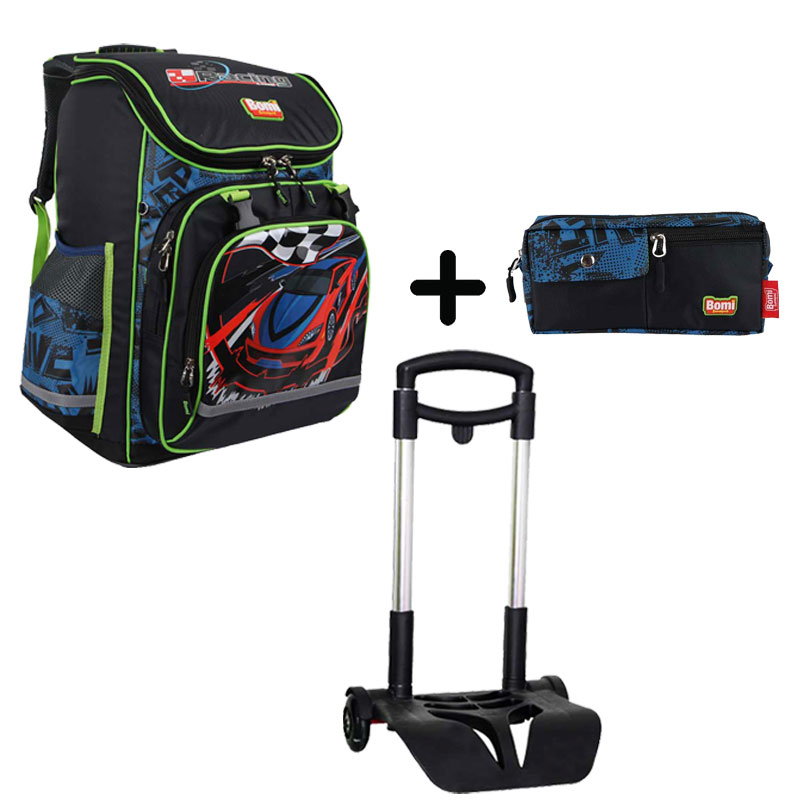 Pack BOMI-RACING cartable SBL03 + chariot + trousse TS01
