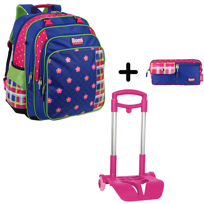 Pack BOMI-FlOWER cartable SB03 + chariot + trousse TS01