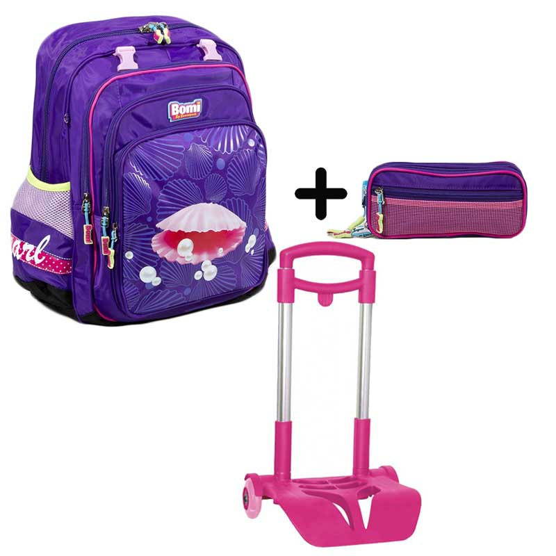 PACK BOMI-PEARL cartable SB03  + trousse TS03+ chariot