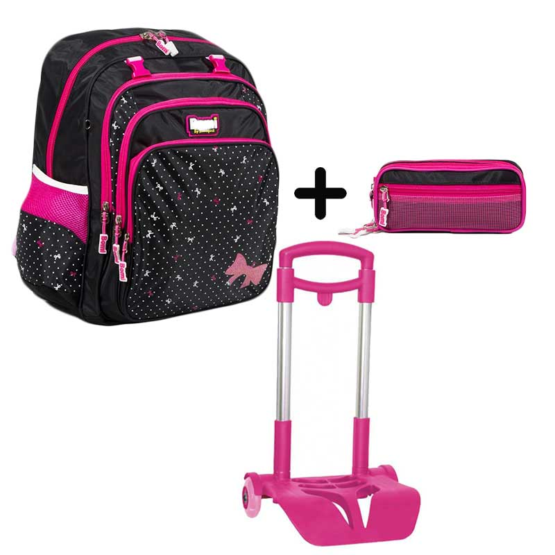 PACK BOMI-PINKY cartable SB03 + trousse TS03 + chariot